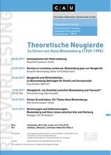 """Ringvorlesung: """"Theoretische Neugierde. Zu Ehren von Hans Blumenberg (1920-1996) """""""